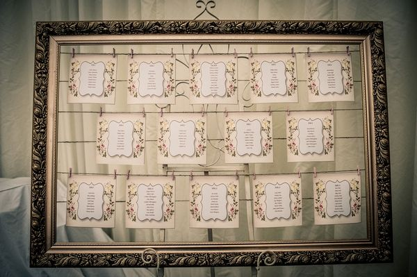 Wedding Table Plan in Picture Frame with String and Pegs