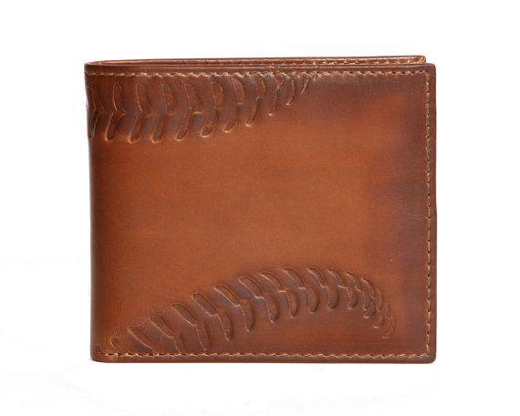 Men's Wallet  Leather Wallet  BASEBALL Embossed by HouseofJackCo