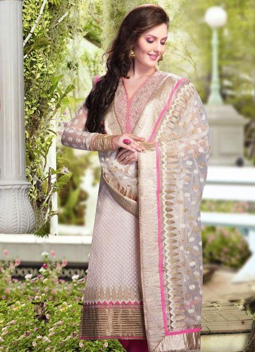 Alluring Off White Banarsi Silk & Cotton #Salwar Kameez #salwarkameez #pakistanisalwarkameez #womenapparel #ethnicwear