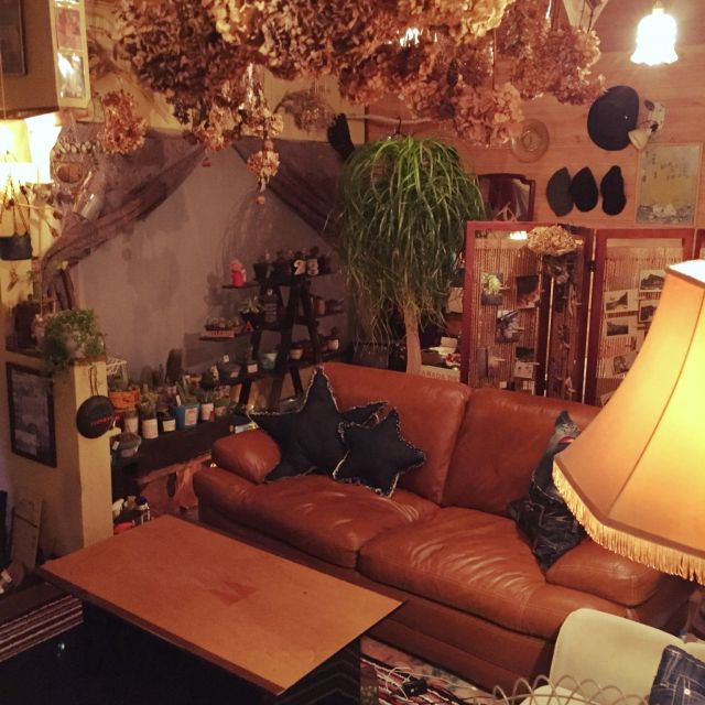 Masahideさんの、照明,昭和レトロ,アンティーク,本革ソファー,サボテン,観葉植物,部屋全体,のお部屋写真