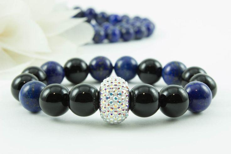 Swarovski ónix/lazurit karkötő, kristály dísszel
