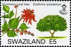 Stamp: Common Coral Tree (Erythrina lysistemon) (Swaziland) (Trees of Swaziland) Mi:SZ 787,Yt:SZ 767,WAD:SZ011.07