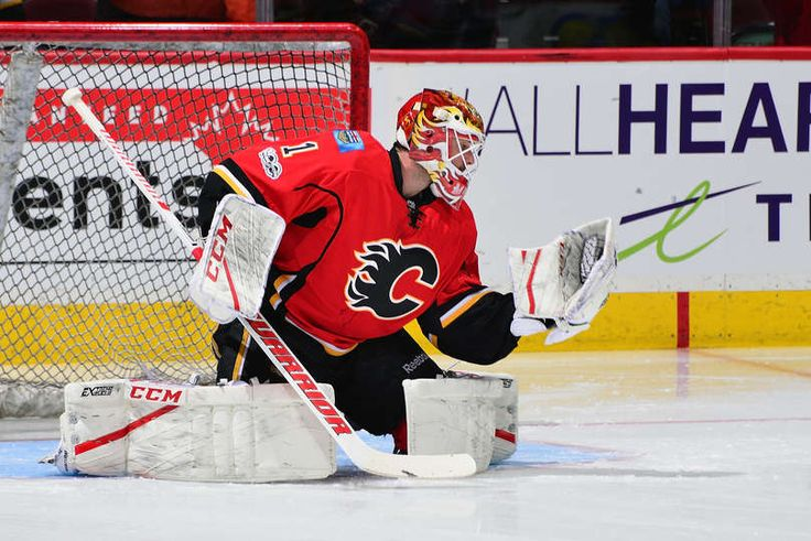 CALGARY, AB - JANUARY 4: Brian Elliott #1 of the Calgary Flames skates in the warmup before an NHL game against the Colorado Avalanche on January 4, 2017 at the Scotiabank Saddledome in Calgary, Alberta, Canada. (Photo by Terence Leung/NHLI via Getty Images)