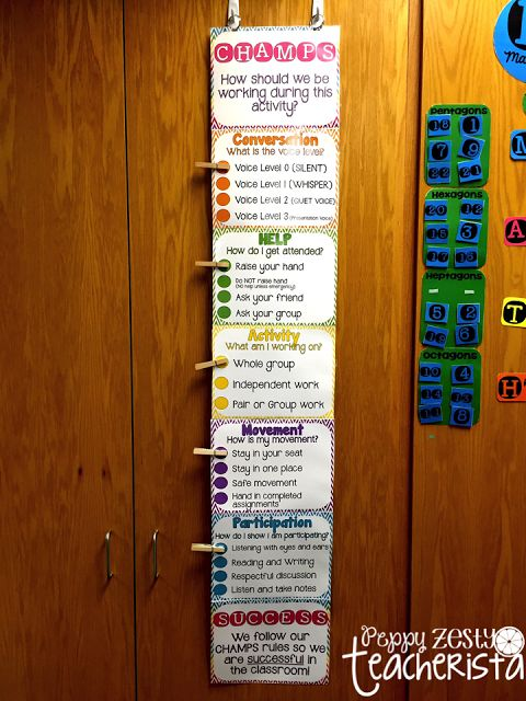 CHAMPS clothespin chart- Students know exactly how they are to work on an assignment or activity when you use this chart!