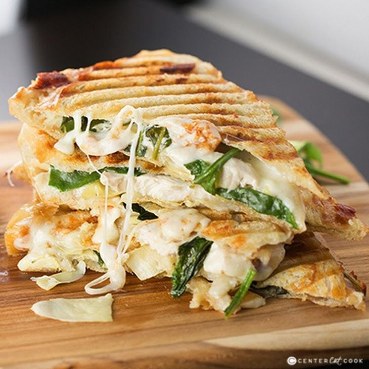 Spinach & Artichoke Panini Recipe Lunch and Snacks with sandwich bread, softened butter, cream cheese spread, artichok heart marin, garlic, chicken strips, mozzarella cheese, baby spinach