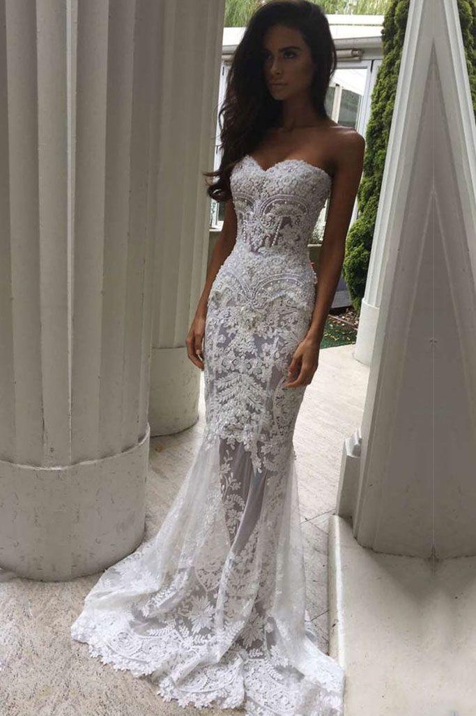 6365dd99b7f0 #sweetheart #weddingdresses #sheath With #applique And Beads Sweep Train