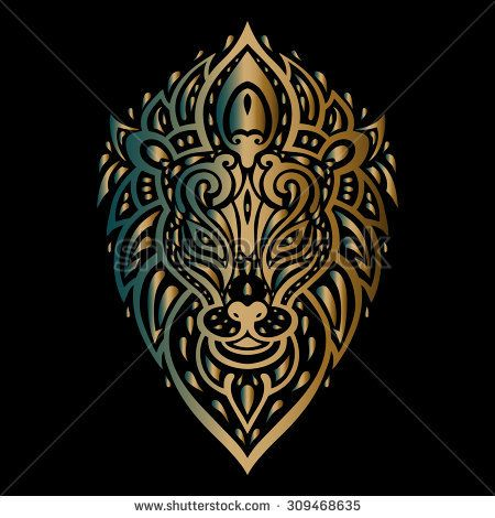 Lions head. Lion Tribal pattern. Polynesian tattoo style. Vector ...
