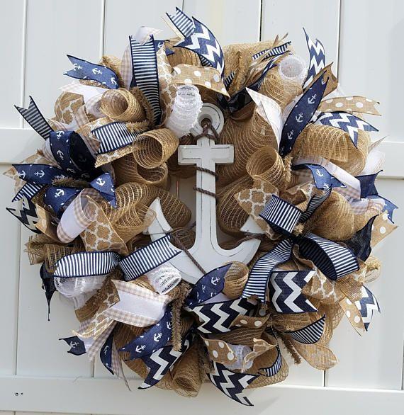 Summer Deco Mesh Wreath, Summer Burlap Wreath, Anchor Wreath, Beach Wreath, Nautical Wreath, Sailing Wreath, Water Wreath