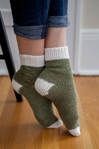 Lazy Weekend Socks - love the contrasting colors and the simple cable.