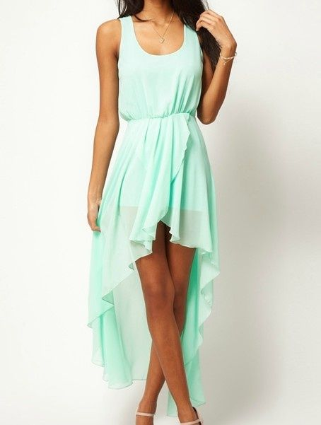 Mint green waterfall dress.