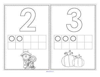 FREE set of numbers and 10-frames 0-10 with a Fall theme to stamp.  There are 2 versions, one with the 10-frames filled in, and one without.