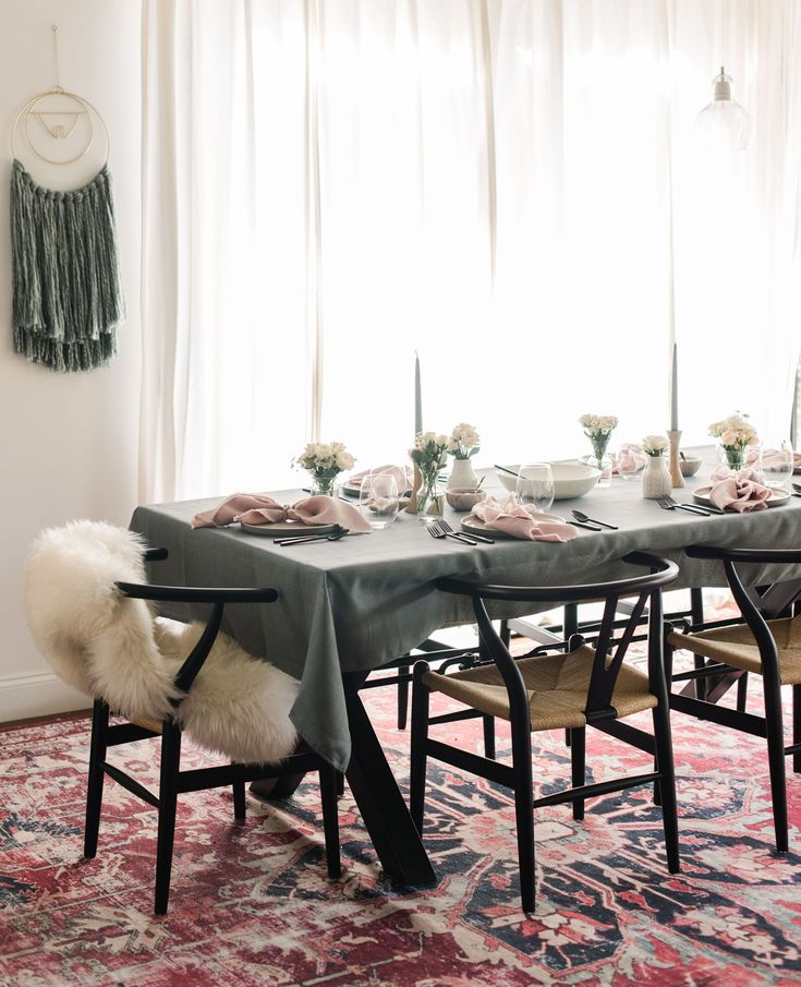 Boho dinner party at home. Gray Tablecloth. Bed Bath and