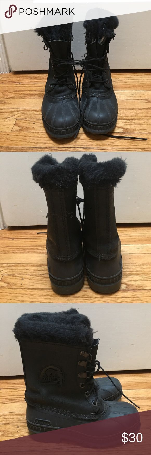 Kids Sorel snow boots boys girls sz 2 Great leather-like (man made fabric) and rubber insulated snow boots by Sorel in a size 2. Light wear from one snow weekend and from a non smoking home. Sorel Shoes Rain & Snow Boots