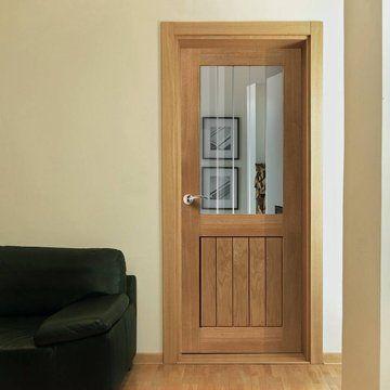 JBK River Oak Thames MK2 Half Light Door with Etched Lines on Clear Glass