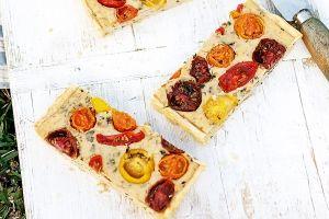 Roasted tomato and basil tart