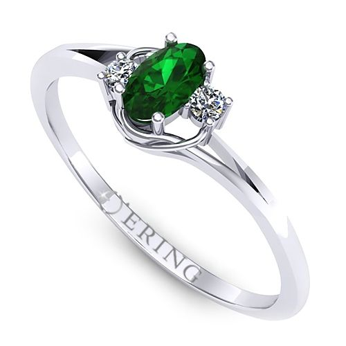 Inel logodna L21ASM inel cu diamante si smarald
