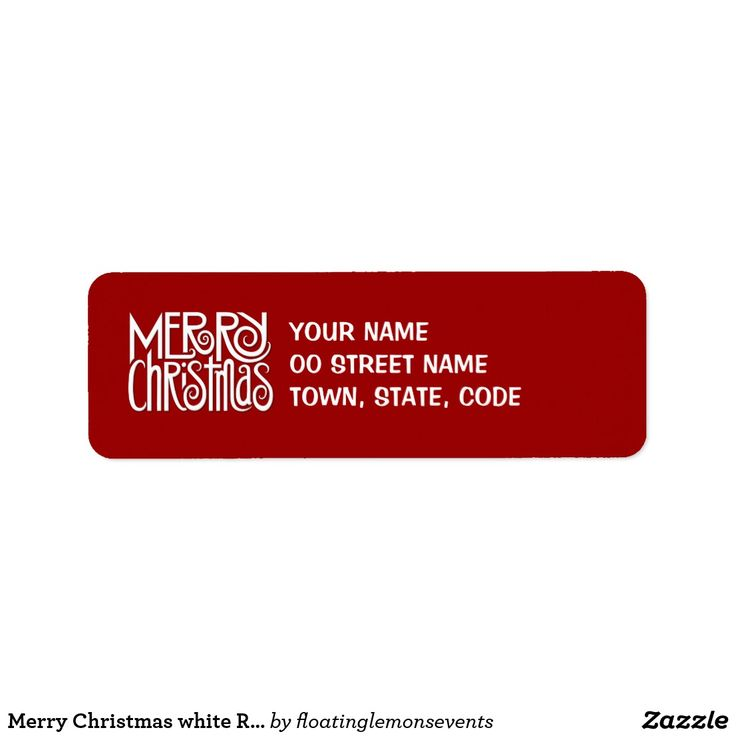 Merry Christmas white Return Address Label 2012 ©Mariana Musa for Floating Lemons ALL PRODUCTS, TEXT & BACKGROUND COLORS ARE FULLY CUSTOMIZABLE. A unique, original and cheerful Merry Christmas text design in white. Perfect for the festive season on stationery and matching gifts for your Christmas party, dinner or family get-together. Visit us at: