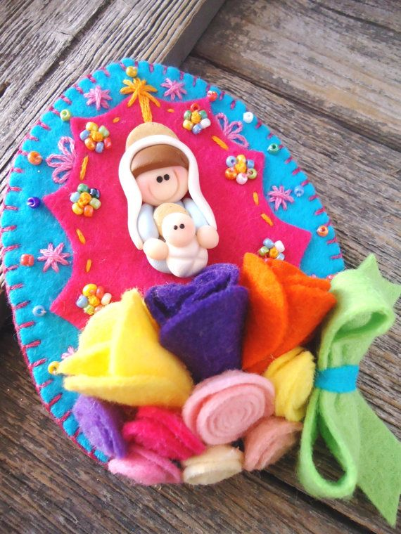 FREE Shipping Mary and Jesus Felt Shrine Mother by Mexicanisima, $12.50