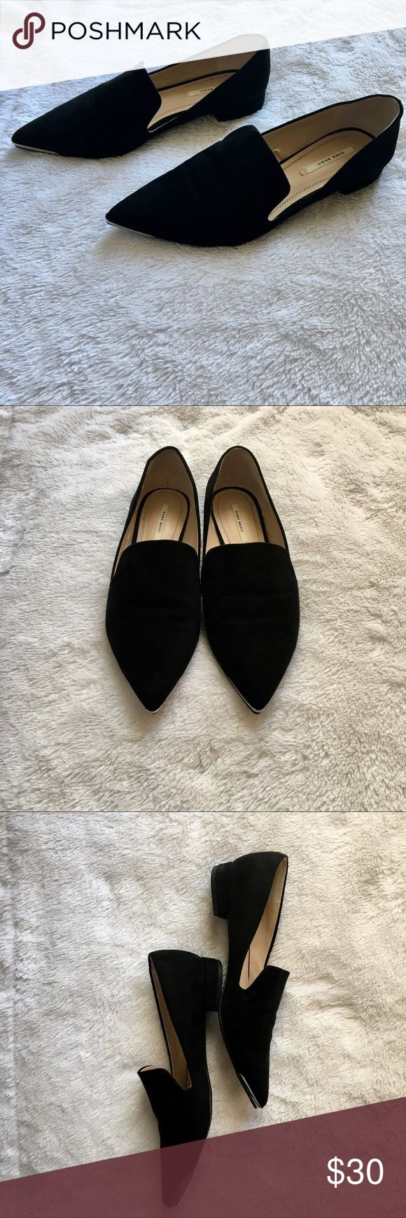 Zara Black Suede Flats Silver Cap Toe Zara Basic Collection! •These on trend shoes are perfect for your wardrobe - wear with jeans or a pencil shirt!  •Silver caps on toe •Worn a few times with small wear underneath silver cap toe - can't see when wearing •Refer to pictures for wear Zara Shoes Flats & Loafers