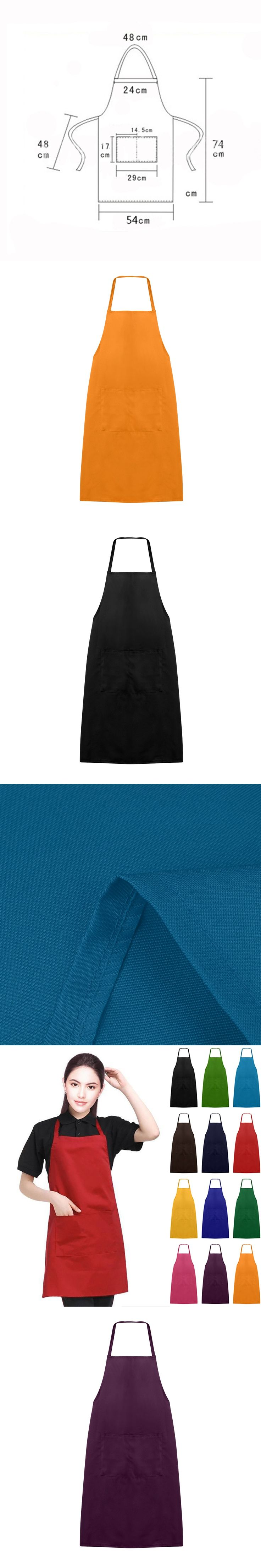 New Plain Unisex Simple Antifouling Apron Cooking Restaurant Catering Work Apron Tabard with Twin Double Pocket for kitchen