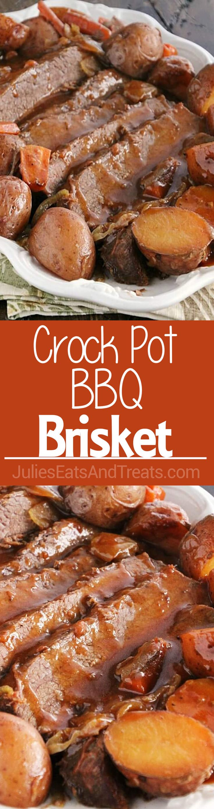 Crock Pot BBQ Brisket Recipe ~ Delicious, Slow Cooked Brisket with Onions, Carrots and Potatoes Smothered in a BBQ Sauce!