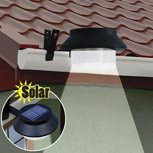 Wireless solar LED attaches to gutter. Have light anywhere around your home.