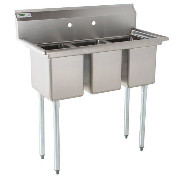 Regency 39 16 Gauge Stainless Steel Three Compartment Commercial Sink With Galvanized Steel Legs And Without Drainboards 10 X 14 X 12 Bowls Commercial Sink Industrial Kitchen Design Sink