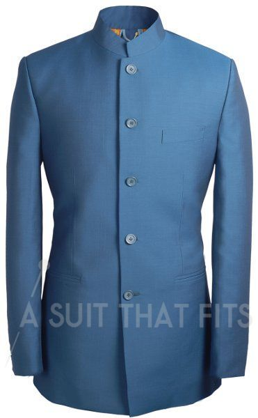 Nehru collared navy Première 2 Piece Suit with paraquette lining.