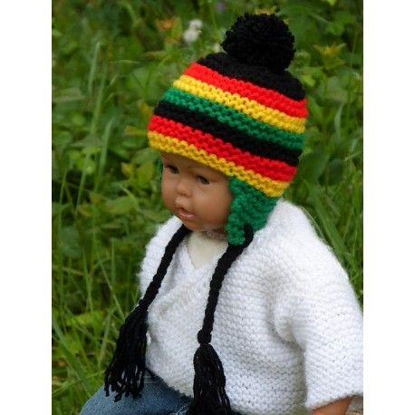 99fa82991290 Adorable petit bonnet péruvien rasta reggae avec rayures pour bébé en laine  acrylique douce et chaude