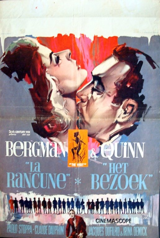 The Visit Belgian movie poster. Ray (Raymond Elseviers) art. Ingmar Bergman+Anthony Quinn