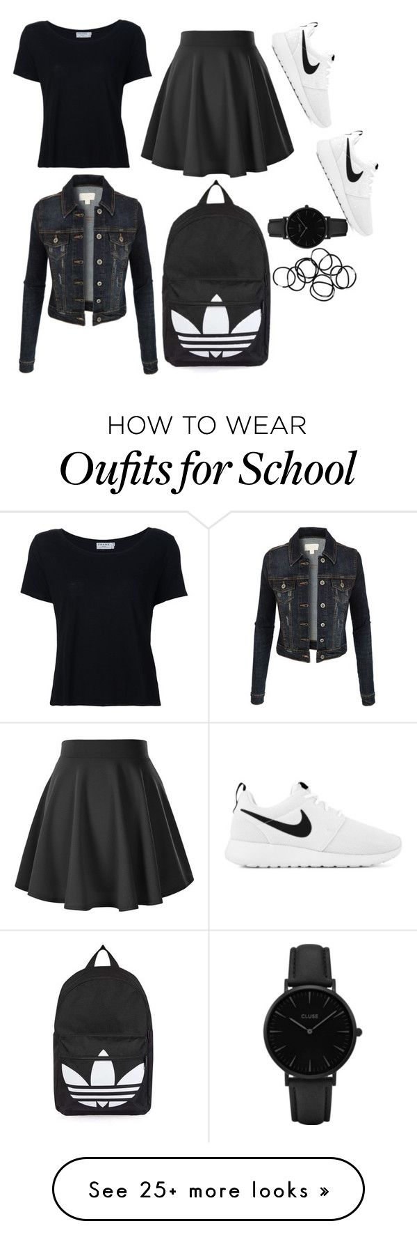 """""""Classic school outfit. Theme : Black and White."""" by sarah-elviraaa on Polyvore featuring Frame, LE3NO, NIKE, Topshop, CLUSE and Monki"""