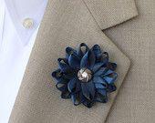 Blue Lapel Flower for Men, Mens Lapel Flower, Mens Flower Lapel Pin, Dark Blue Boutonniere, Gifts for Men, Men's Lapel Pin, Lapel Flower Pin