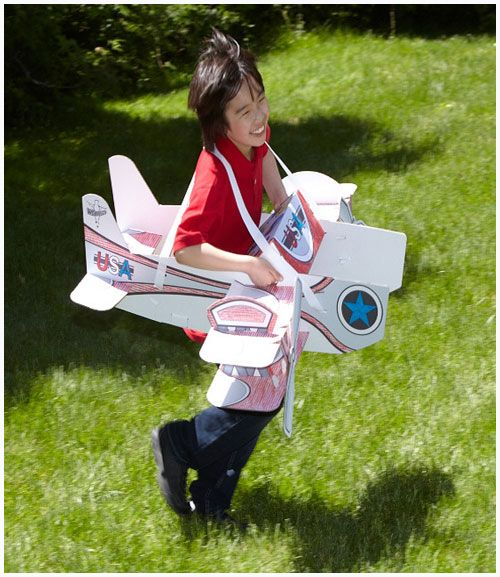 AWESOME. Color Your Own Cardboard Airplane Costume By