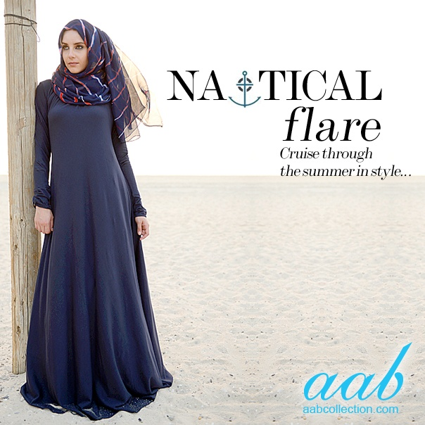 NAUTICAL FLARE    Cruise through the summer in style with Aab's Nautical Collection      MULBERRY NAVY    Best selling Mulberry is back with an official Aab signature button and now available in classic navy! There's no room for copies, we now have our best seller signed, sealed, stamped and better than ever!       OLD NAVY HIJAB    Our most popular hand dyed Hijab is Old Navy, a huge hit that compliments Aab's nautical range! Hand dyed hues of red, navy and white, pure style without a…