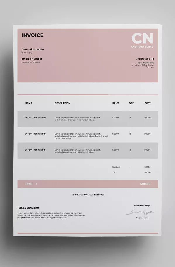 invoice template ai eps easy customizable 300 dpi resolution