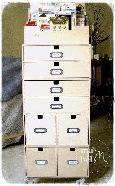 Craft organizer made from various Ikea storage boxes- Mabel Scraps
