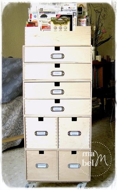 Zo kun je de Ikea opbergers natuurlijk ook combineren.... Craft organizer made from various Ikea storage boxes- Mabel Scraps