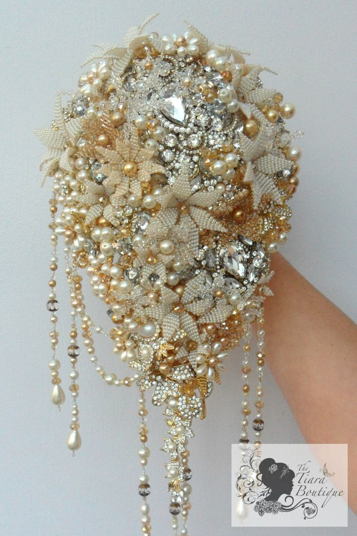 Vintage Inspired Hollywood Glamour Beaded Flower And Brooch Bridal Bouquet Now THAT Is Glamtastic