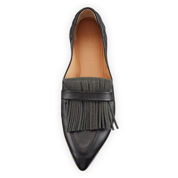 Brunello Cucinelli Leather Slip-On Loafer with Monili Fringe (¥147,130) ❤ liked on Polyvore featuring shoes, loafers, leather footwear, leather fringe shoes, slip on loafers, slip-on shoes and fringe shoes