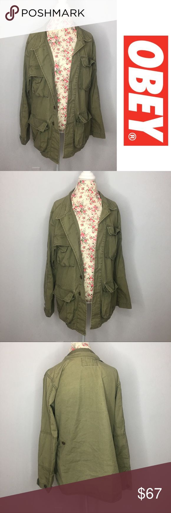 💕FLASH SALE!💕Obey Olive Green Military Jacket Gently used Obey military jacket size large. It's oversized and runs about one size up. Has some minor flaws but nothing major. No holes or tears. All zippers and buttons are in great condition. This jacket is hard to find! Accepting all reasonable offers Obey Jackets & Coats Utility Jackets