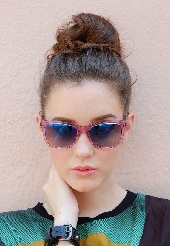 Transparent blush pink clear acetate by TrichromeEyewear on Etsy #handmade #sunglasses #pink