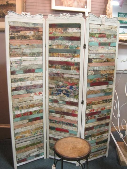 Gorgeous One of a Kind folding screen, room divider. Made from antique scraps of barn wood. From Vendor 479 in booth 36. Priced at $389.00. Available at The Brass Armadillo Antique Mall - WheatRidge, CO! Shipping available. (303) 403-1677.
