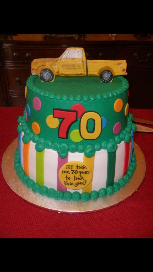 My Dads 70th Birthday cake with a replica of his favorite old truck on top