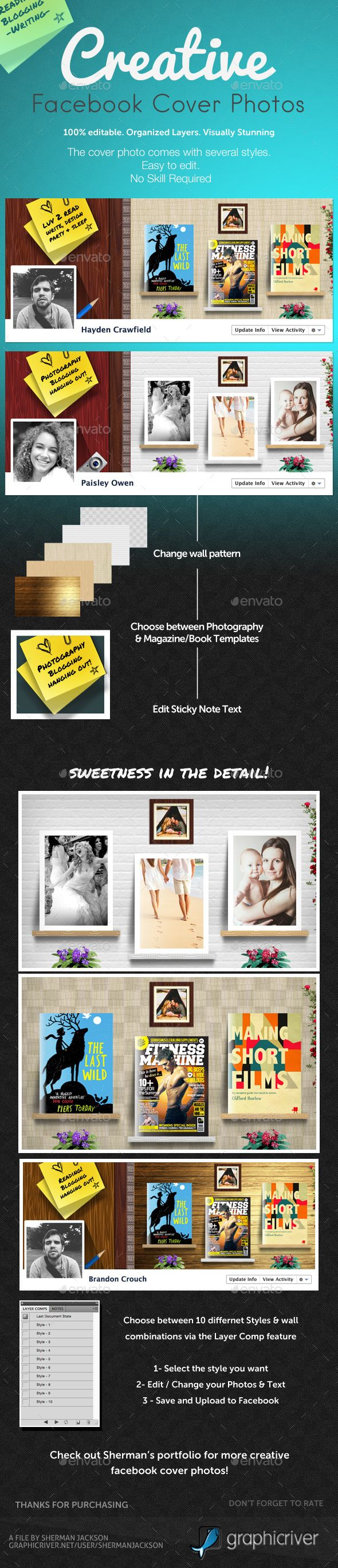 Creative Facebook Cover Photo Template PSD. Download here: http://graphicriver.net/item/creative-facebook-cover-photo/14901260?ref=ksioks