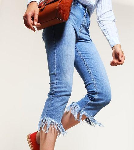 Topshop Jeansypostrzępione Straight leg middenim
