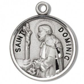 Saint Dominic 7/8' Round Sterling Silver Medal