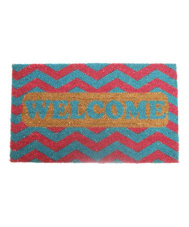 Loving this Red & Blue Zigzag 'Welcome' Coir Rug on #zulily! #zulilyfinds