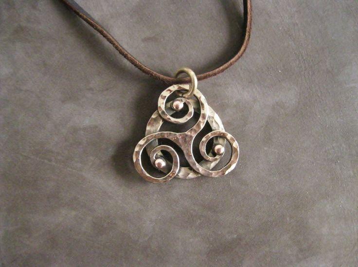 Bronze Celtic Triskelion Pendant, comes with reindeer leather thread. by KvenlandForgeworks on Etsy https://www.etsy.com/no-en/listing/470864410/bronze-celtic-triskelion-pendant-comes