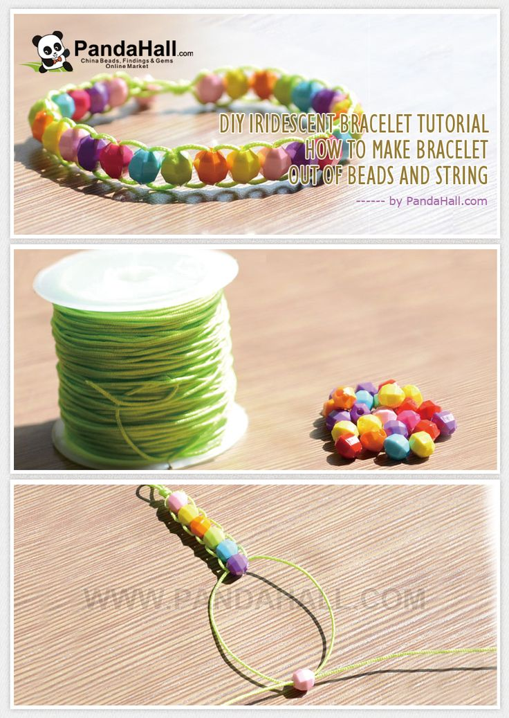 DIY Iridescent Bracelet Tutorial - Make Iridescent Bracelet out of Beads and String from pandahall.com