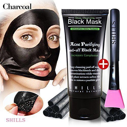 Peel Off Mask Blackhead Whitehead Remover Charcoal SHILLS Black Mask w Brush Kit #SHILLS